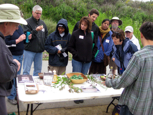 Tim Martinez, Arroyo Seco Foundation Outreach Coordinator, hosting the Habitat learning station at the 2012 Hahamongna Walkabout. Courtesy of Arroyo Seco Foundation.