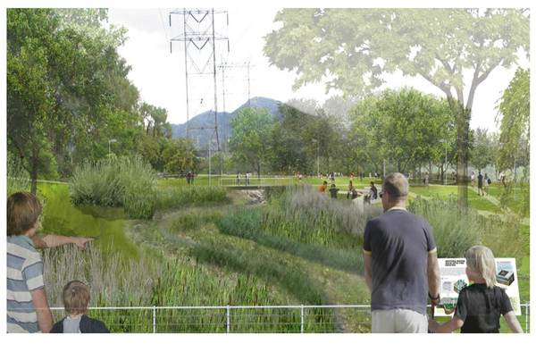 A view of the new streambed area from the bridge closest to Parkside Avenue | Courtesy of Parks, Recreation and Community Services for the City of Burbank