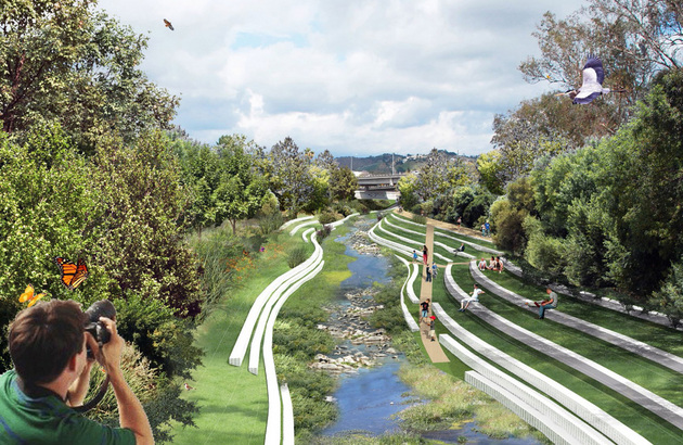 This rendering looking east towards the Arroyo Seco at West Avenue 26 Bridge is part of a student project that proposes turning the present concrete-laden confluence of the Los Angeles River and the Arroyo Seco into a recreation destination. | Yingjun Hu