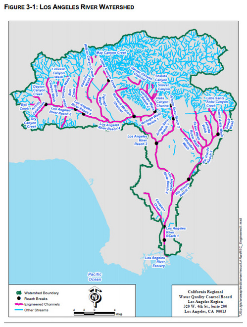 The study area covered the entire L.A. River watershed