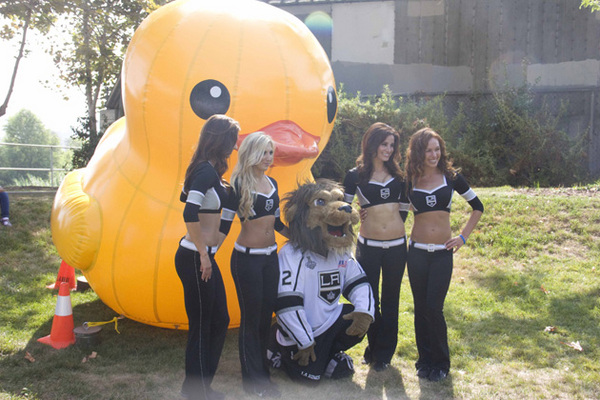 Bailey, the L.A. Kings' mascot, and the Kings Ice Crew