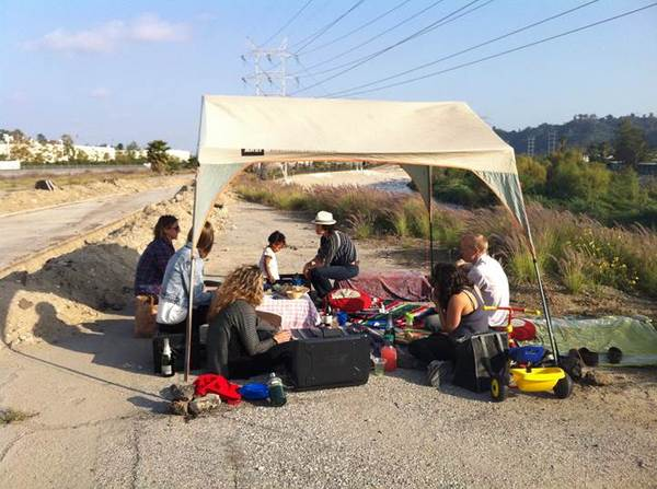 A picnic on the Bowtie parcel by the L.A. River | Photo: Lila Higgins