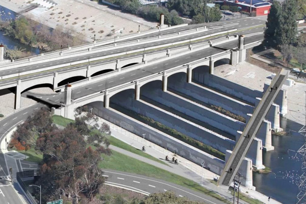 Rendering for the Red Car Bridge next to the Glendale Hyperion bridge | Image: L.A. Bureau of Public Works