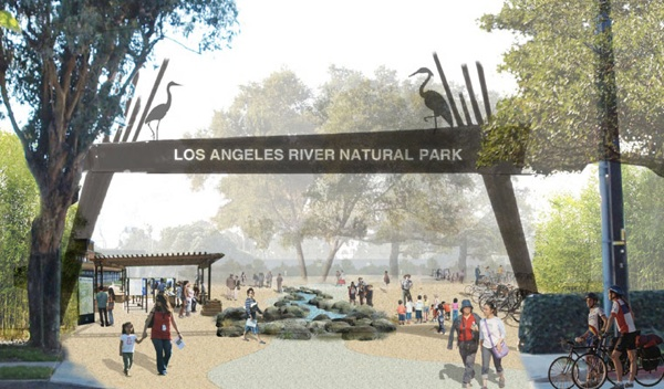 A rendering of the L.A. River Natural Park gateway and entry plaza in Studio City. | Image: Courtesy Save LA River Open Space