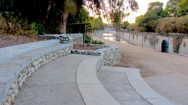 An amphitheatre sits on the south side of the river at Valleyheart and Longridge. | Photo: Zach Behrens/KCET