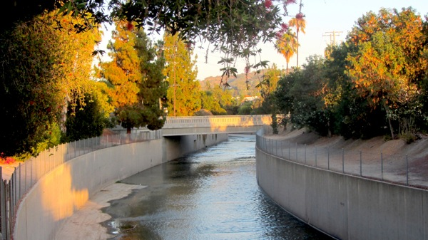 The L.A. River as seen from Moorpark Street toward the Fulton Bridge. | Photo: Zach Behrens