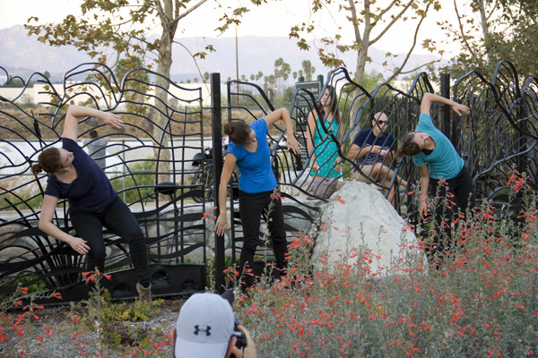 Dancers interacting with the new Marsh Park river gates | Photo: Carren Jao