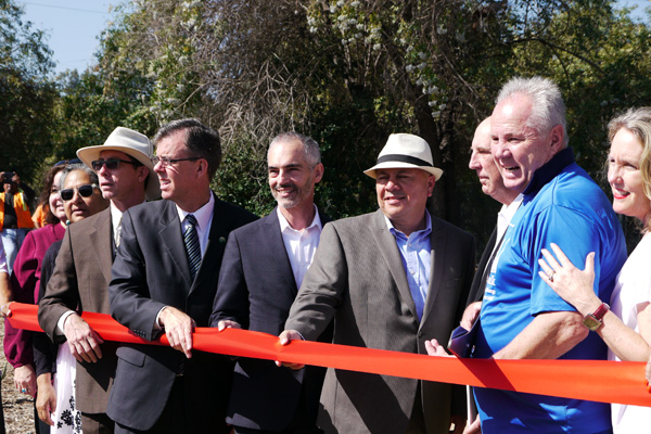 Councilmember O'Farrell with Ed Reyes, Tom LaBonge, among others, at the opening of Sunnynook Park along the L.A. River | Photo: Rubi Fregoso