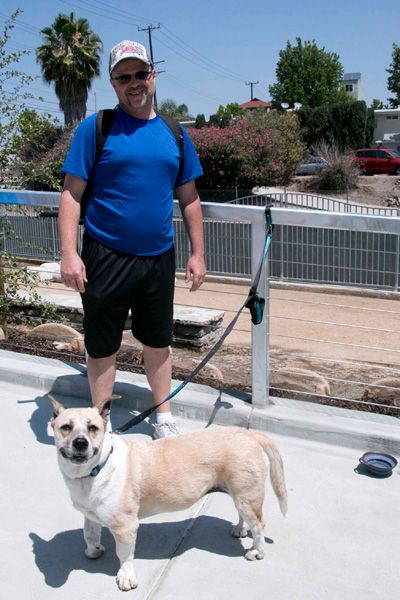 North Hollywood resident and LA River walker Jim Gross with his pet, Chloe | Photo: Carren Jao