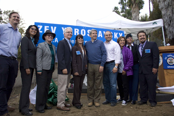Departing County Supervisor Zev Yaroslavsky, along with other local stakeholders that came out during the opening
