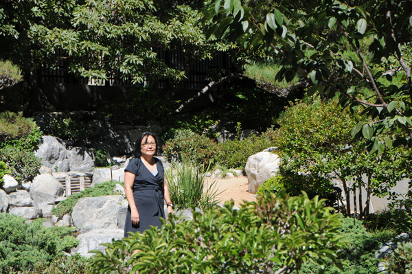 Author Naomi Hirahara at James Irvine Garden | Photo by Justin Cram