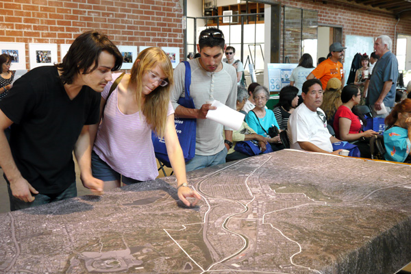 A large map of northeast Los Angeles helped to contextualize many of the project ideas