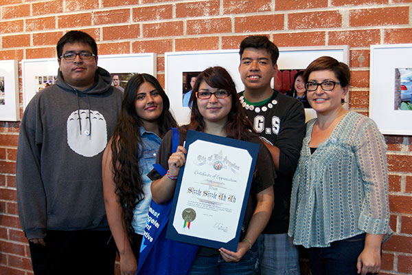 Students from the L.A. River School designed the winning entry for the platemaking competition in Glassell Park.