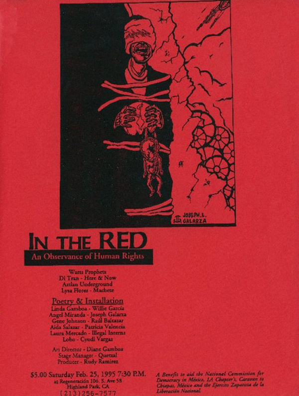 "Flyer announcing In the Red, ""An Observance of Human Rights,"" held at Regeneracion in February 25, 1995. Image courtesy of Antonio Garcia."
