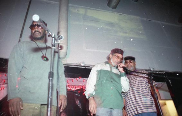 Watts Prophets, poet-musicians formed in 1967, forerunners of contemporary hip hop, performing at Regeneracion in 1995. Photo courtesy of Antonio Garcia.