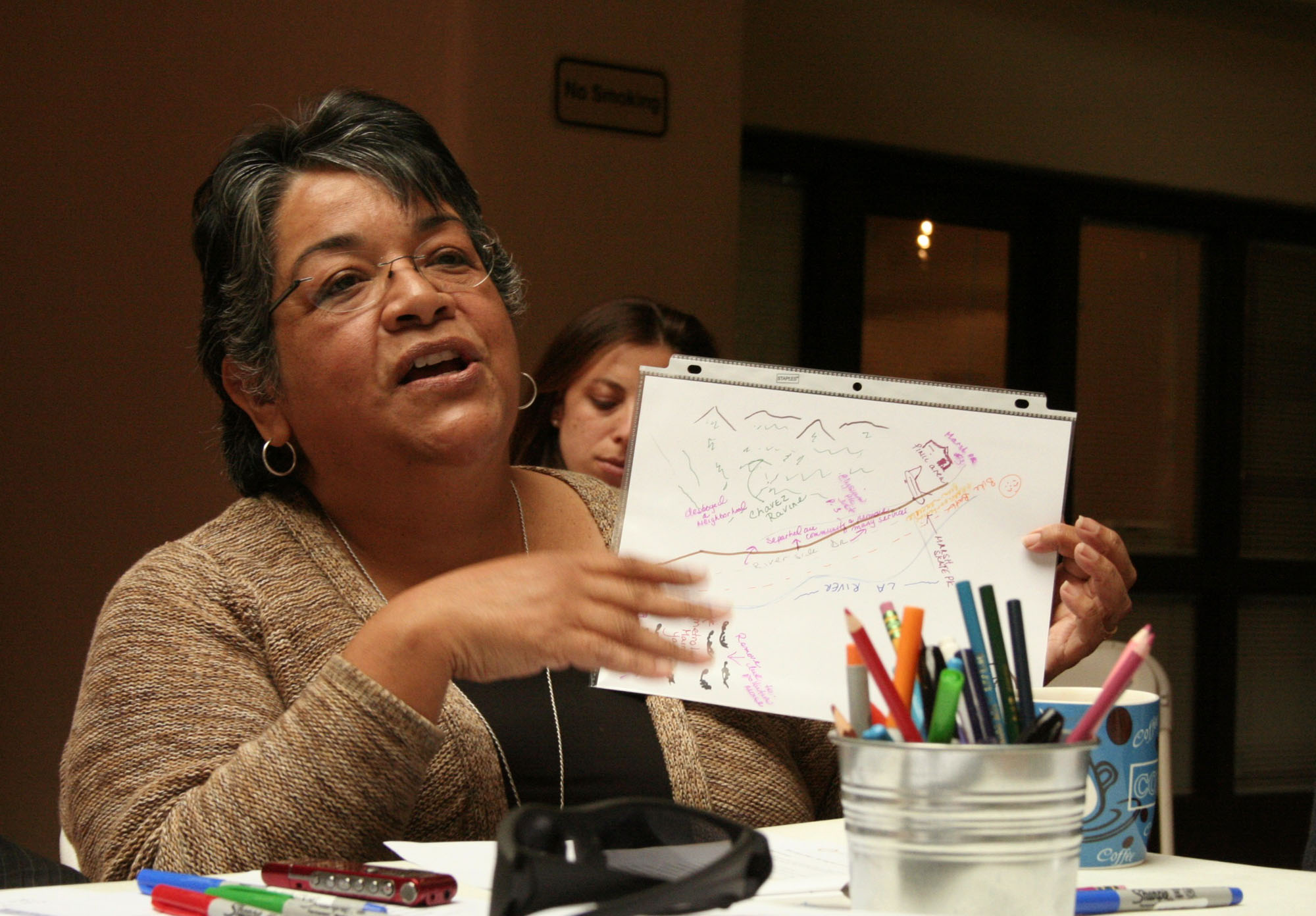 Elysian Valley community activist Cecilia Dominguez displays her personal map