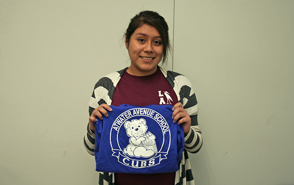 Pamela Gonzalez shares the t-shirt from her elementary school.