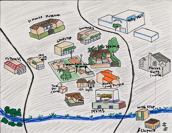 The second layer of Andres' map offers more details about his neighborhood.