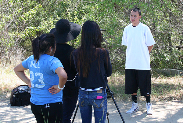Students from the L.A. River School interview one of their classmates
