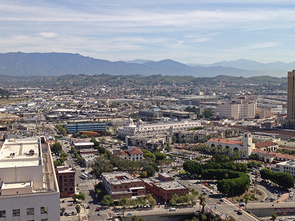 Olvera Street/La Placita and Union Station are visible in the foreground