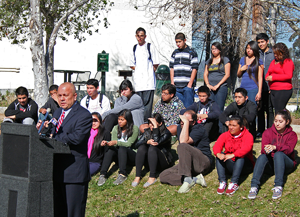 Students listen as former Council Person Ed Reyes helps launch the Northeast Los Angeles Riverfront Collaborative