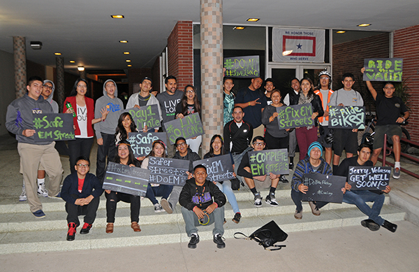 Students and community members take part in a rally in support of the complete streets initiative in El Monte