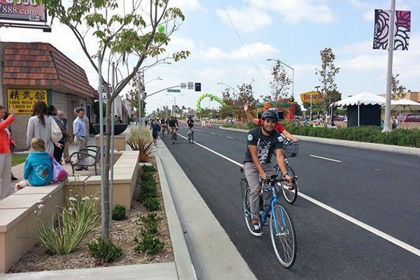 Redesigned Rosemead Blvd. in Temple City | Photo: Bike SGV Facebook