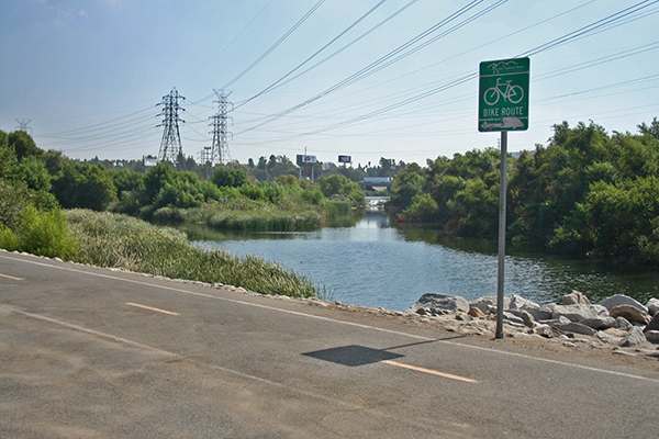 The San Gabriel River and San Jose Creek confluence just south of Mountain View High School