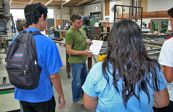 Mr. Cortez giving students a tour of the workshop