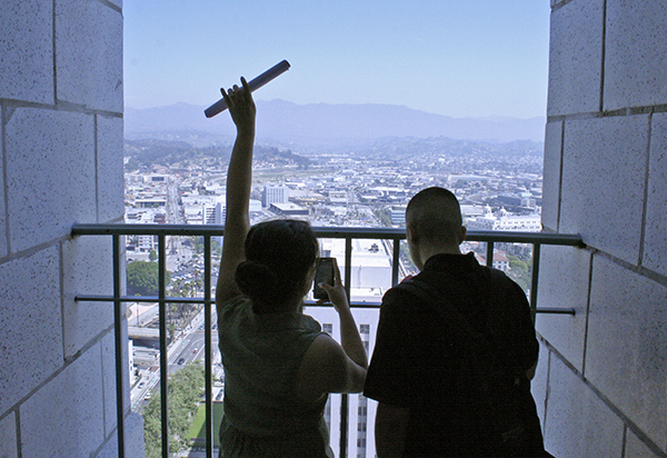 Two students take in the Northeast view