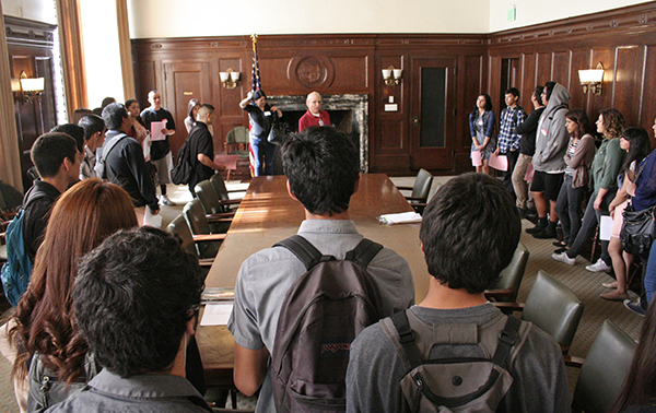 Students visited and learned about the Press Room near the Mayors' Office, where in addition to press conferences the Mayor and other public officials hold both public and private meetings