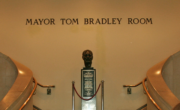 The Mayor Tom Bradley Room on the 26th floor features a bust of the five-term mayor that welcomes visitors as they head up to the observation deck one floor above