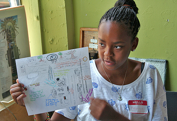Anbiya presents her personal map to the group