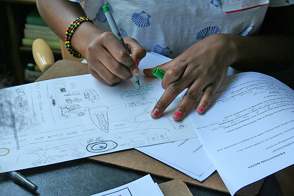 Anbiya uses her production notes to draw out her personal map that includes her hot spots