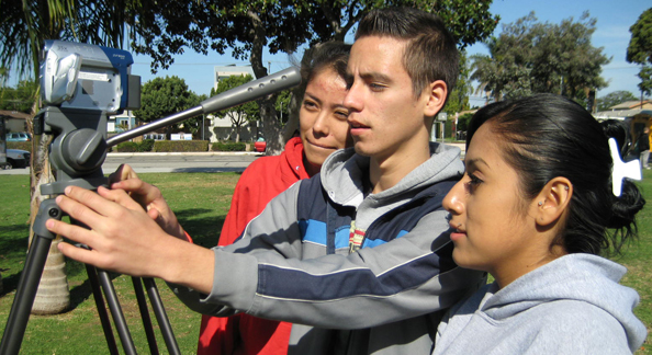 Youth Voices students practice sound recording at Venice High School.