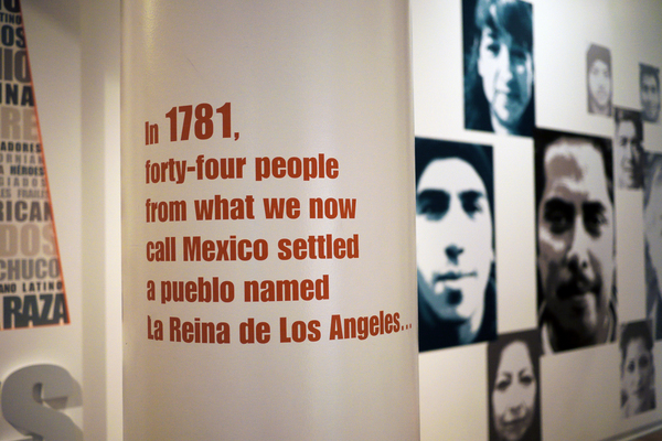 Students explore the 'LA Starts Here' exhibit at La Plaza de Cultura y Artes