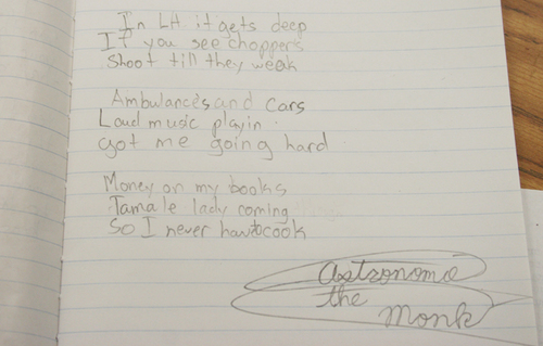Astronomy the Monk, a HeArt Project student, shares a poem/tips on his neighborhood