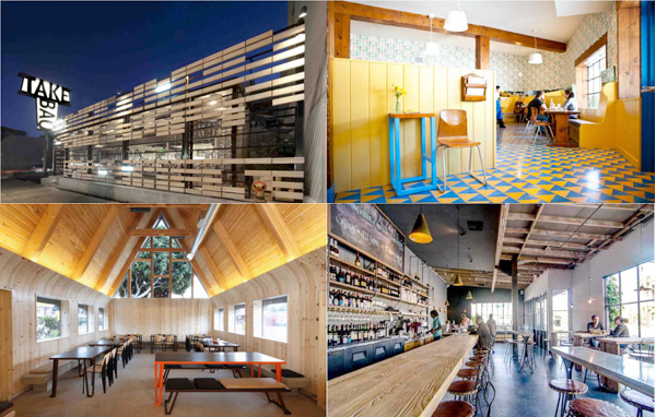 Restaurant Design Awards winners (from top left, clockwise): Take a Bao, Beachwood Cafe, A-Frame, and Le Zinque. | Photos: Courtesy AIA Los Angeles