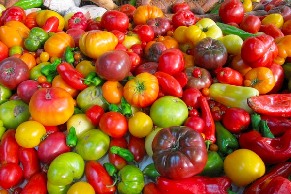 A collection of tomatoes, and some peppers thrown in for good measure. Photo courtesy portmanteaus/Flickr