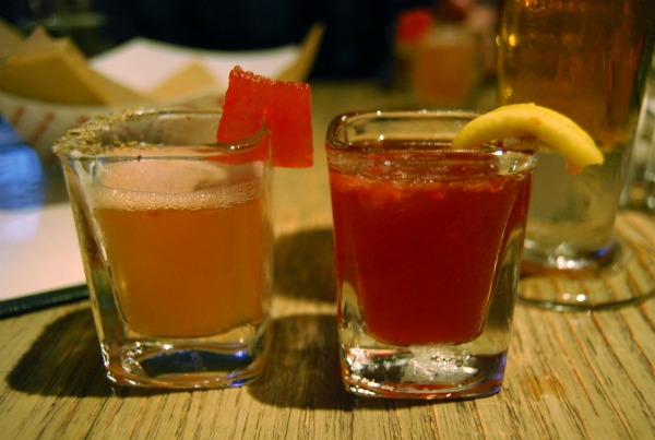Samples of cocktails offered at Wing Nite: the honey bee and early tea
