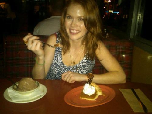 Erin, pie and ice cream