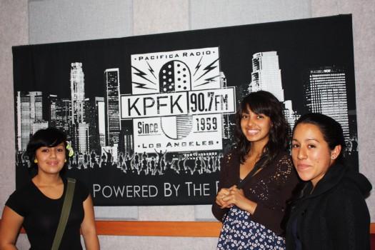 GlobalGirl Media Reporters Sussete Nuñez, Brenda Solis & Jessica Cueva at KPFK Radio