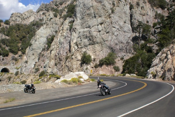 A motorcyclist on the Angeles Crest Highway in the San Gabriel Mountains