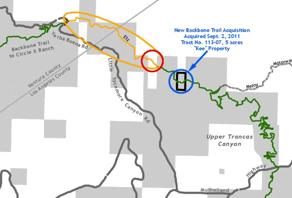 Yellow indicates a one-mile trail closure. The red circle is the tenth-mile right-of-way that needs to be secured | Map: Courtesy National Park Service