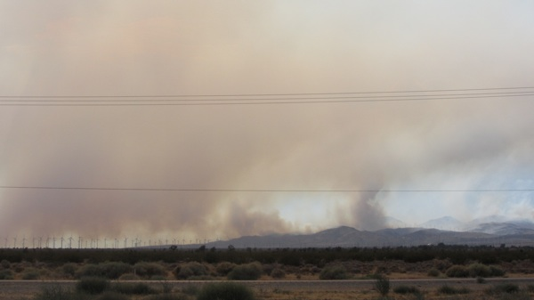 The Canyon Fire seen from the 14 Freeway on Monday | Photo by Zach Behrens/KCET