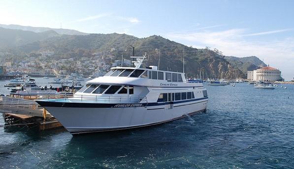 A Catalina Express boat docked at Avalon Harbor on Catalina Island