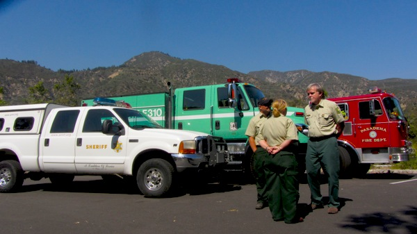 U.S. Forest Service employees gather in the parking lot of Eaton Canyon Park and Nature Center | Photo: Zach Behrens/KCET