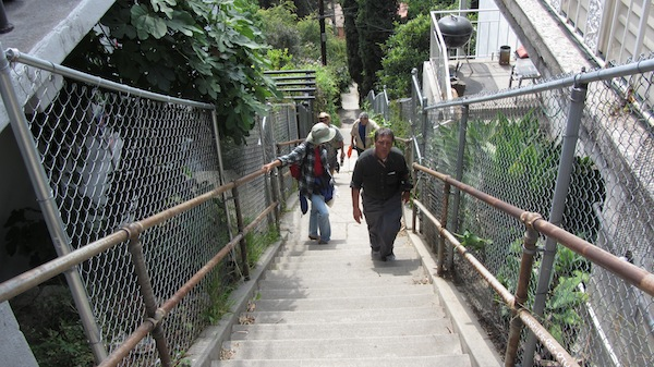 Hikers of the Big Parade in 2011 take on a staircase in the Franklin Hills neighborhood of Los Angeles | Photo: Zach Behrens/KCET
