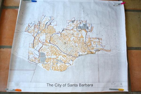 Their Santa Barbara map | Photo courtesy Stacey Wright