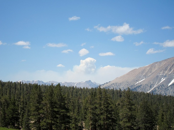 Lion Fire smoke seen from Sandy Meadow on the John Muir Trail/Pacific Crest Trail, according to a hiker